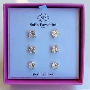 Jewelry - 14k yellow gold 3 diamond stud earrings silver box